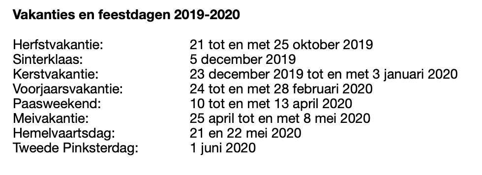 Vakantie en feestdagen 2019-2020